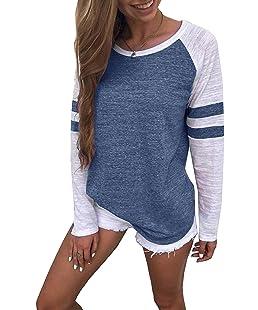 Generic Hiistandd Damen Langarmshirt Farbblock Langarm T-Shirt Casual Rundhals Tunika Tops (XX-Large, blau)