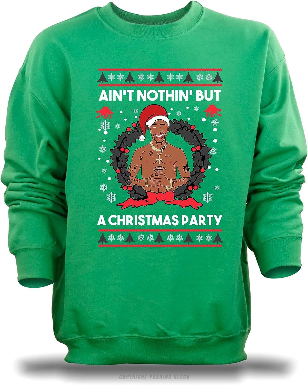 , 2XL Gildan PUSHING BLACK Aint Nothing But a Christmas Party Unisex Sweatshirt Irish Green