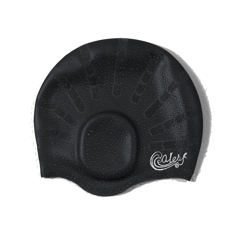 10bb00de133 Amazon.com   Baleaf Waterproof Swim Cap Long Hair Side Ear Pocket Swimming  caps Adult Men Women   Sports   Outdoors