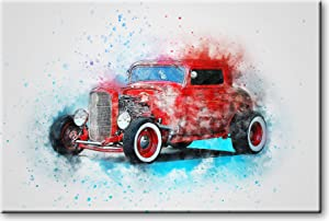 Hot Rod Classic Car Picture on Stretched Canvas, Wall Art Décor, Ready to Hang