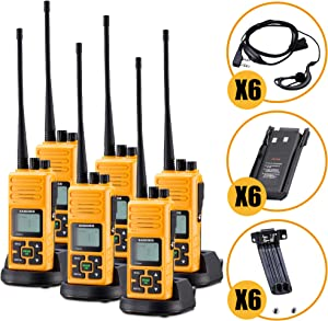 Long Range Rechargeable Two-Way Radio with Earpiece & Mic, Sanzuco Handheld Walkie Talkie with Group Talk Function, Frequency Reprogrammable, 3000mAh Li-Battery, Dock Charger Included (Orange, 6 Pack)