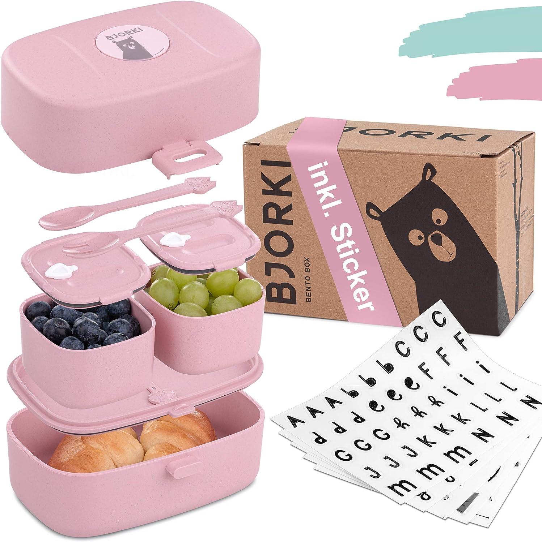 BJORKI Bento Box para niños, incluye pegatinas para el nombre, fiambrera a prueba de fugas con compartimentos, fiambrera sostenible para niños para la guardería y la escuela, la fiambrera para viajes.