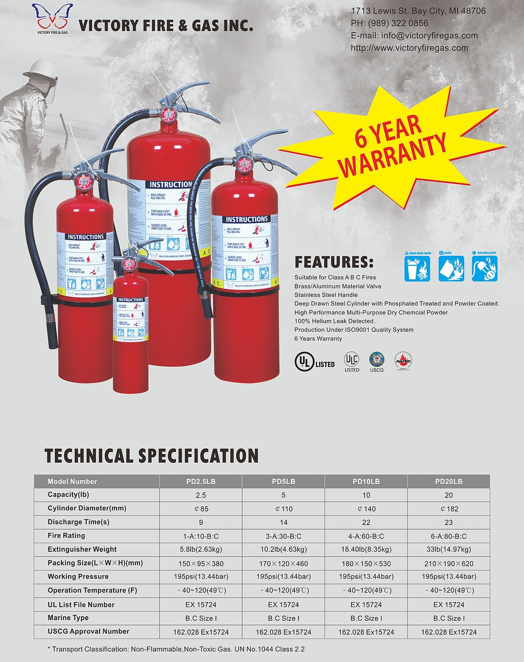5 lb. Victory ABC Fire Extinguisher with Vehicle Bracket, Sign and Inspection Tag