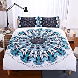 Sleepwish Black White Blue Teal Duvet Cover 3 Piece Turquoise Mandala Bedding Geometric Bed Spread Ethnic Style Bedding (Twin)