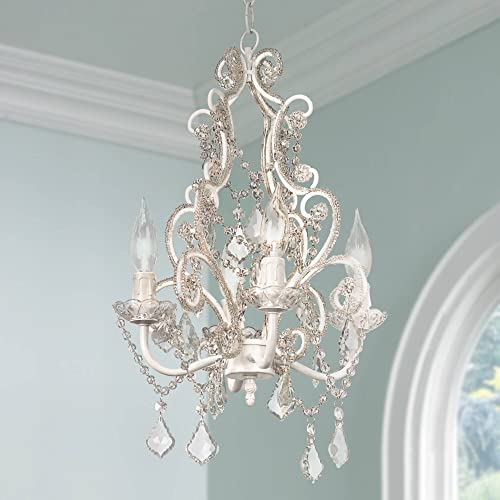 Leila Antique White Crystal Plug in Mini Swag Pendant Chandelier 11 Wide Country Cottage Scroll Frame 4-Light Fixture for Dining Room House Island Entryway Bedroom Living Room – Regency Hill