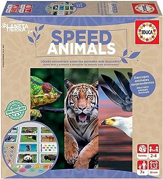 Educa- Planeta Tierra-Speed Animals Juego de Mesa Familiar realizado con Materiales 100% reciclados con 480 Preguntas rápidas sobre Animales, a Partir de 7 años (18709): Amazon.es: Juguetes y juegos