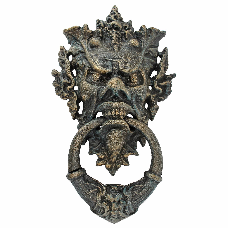 Design Toscano Vecchio-Blattmaske Authentischer T/ürklopfer aus Eisen