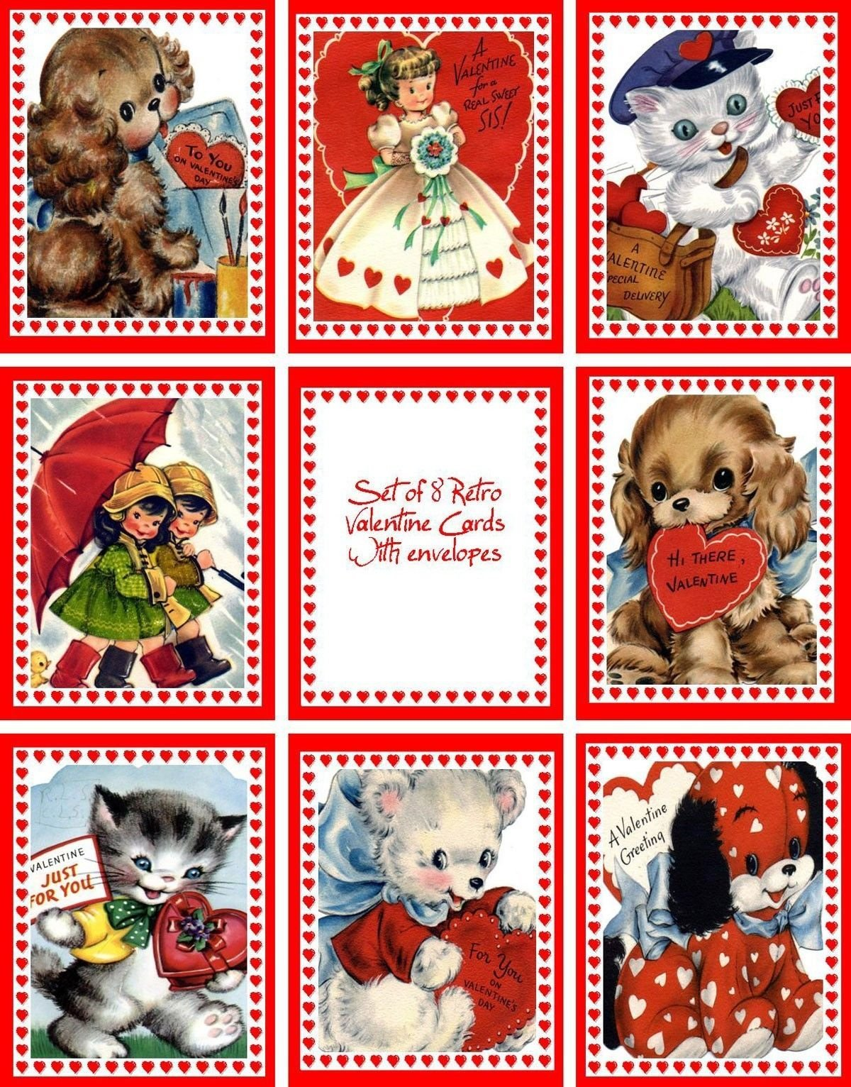 Vintage retro Valentine 8 cards tags with envelopes by Corinne Frain