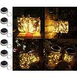 6 Pack Solar Mason Jar Lights, 20 Led String Fairy Firefly Lights Lids Insert for Regular Mouth Jars, Mason Jar,Patio,Lawn,Garden Decor (6, Warm White-20 LED)