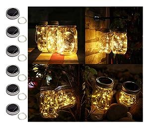 Sunlane 6 Pack Solar Mason Jar Lights, 20 Led String Fairy Firefly Lights Lids Insert for Regular Mouth Jars, Mason Jar,Patio,Lawn,Garden Decor (6, Warm White-20 LED)