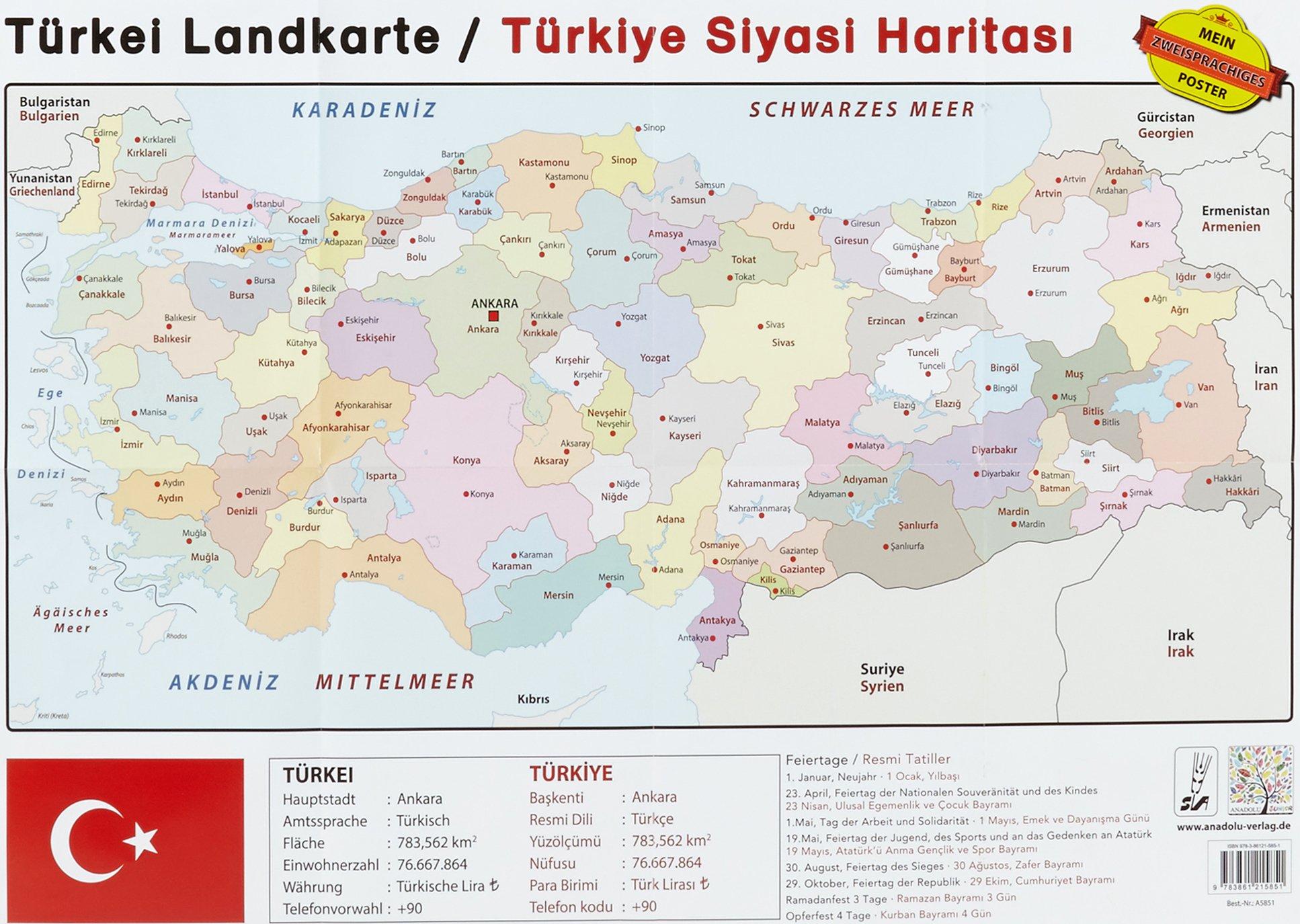 Turkei Landkarte Turkiye Siyasi Haritasi Poster 9783861215851