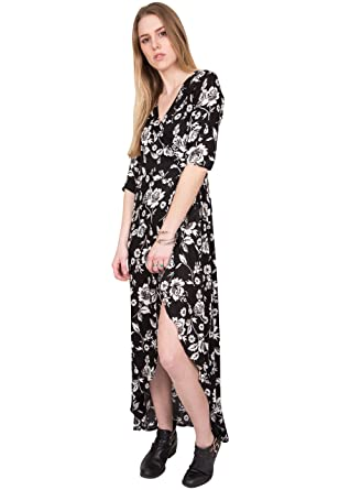 9c84b9180a likemary Floral Maxi Wrap Dress with 3 4 Sleeves XL  Amazon.co.uk ...