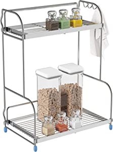 Lavish Home Kitchen Rack-2-Tiered Countertop Storage Shelves with 3 Side Hooks-Free Standing Organizer For Spices, Jars, Condiments and More