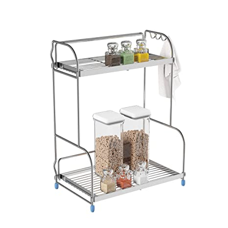 Lavish Home 83-93 Kitchen Rack-2-Tiered Countertop Storage Shelves with 3  Side Hooks-Free Standing Organizer For Spices, Jars, Condiments and More