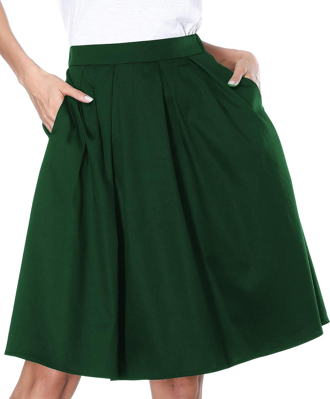 2fb982653 Amazon.com: Janmid Women's High Waisted A Line Street Skirt Skater Pleated  Full Midi Skirt Medium Green: Clothing