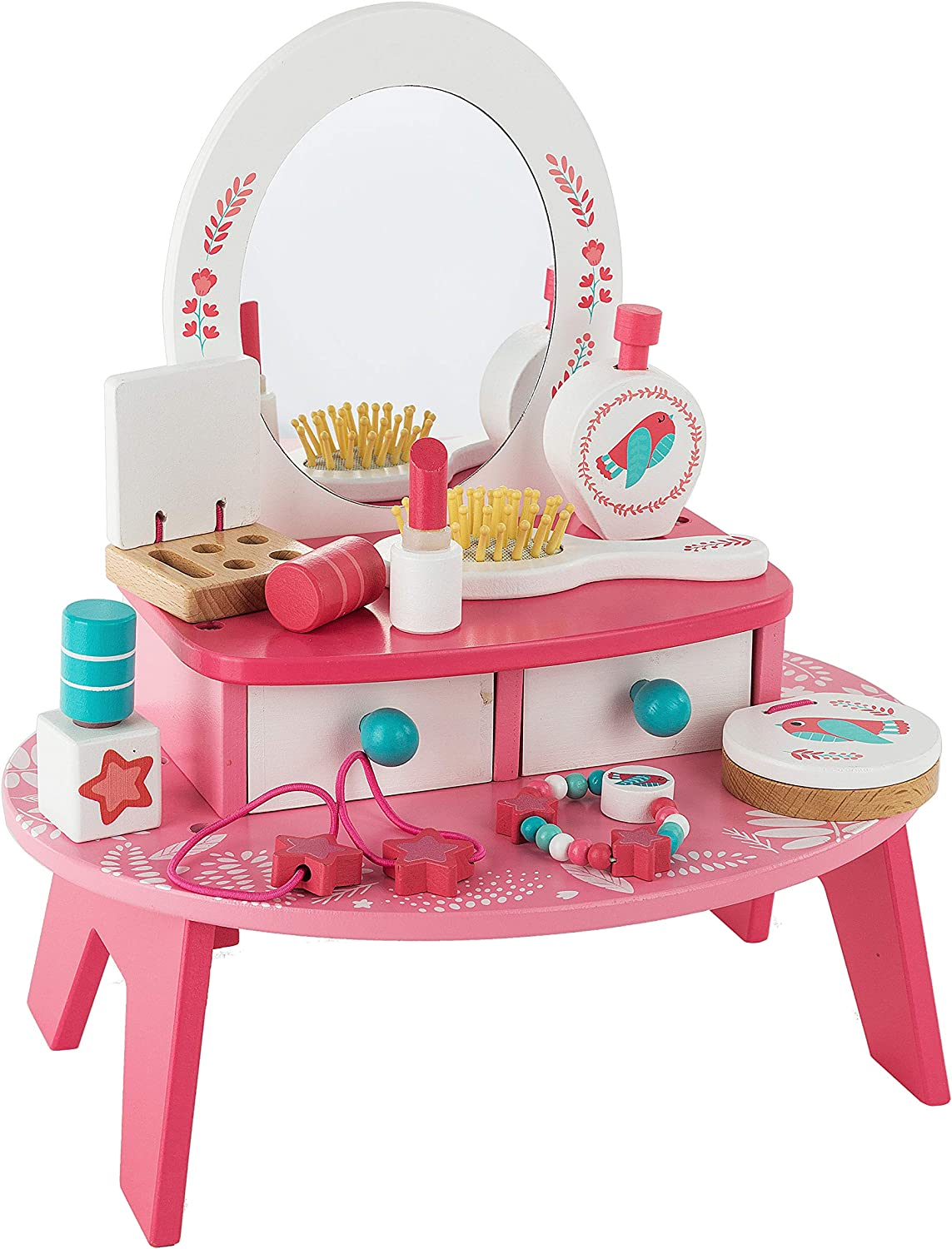 "Toy Chest Nyc Wooden Beauty Salon Play Set, Tabletop Dresser Makeup Station for Kids, Role Playing Vanity Set, 16 Pieces, 11"" x 7.8"" x 13"""