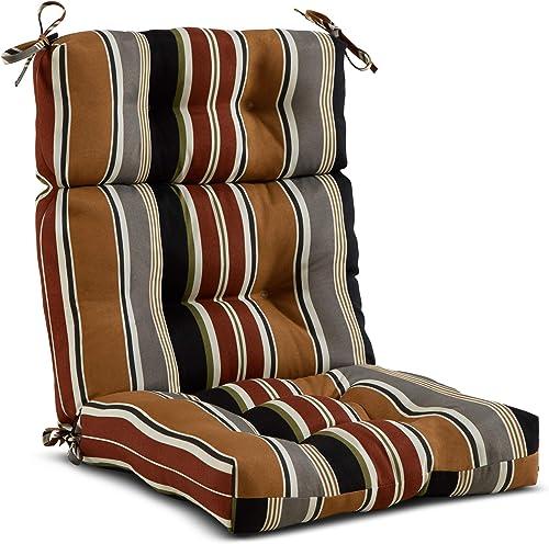 South Pine Porch AM4809-BRICK Brick Stripe Outdoor High Back Chair Cushion