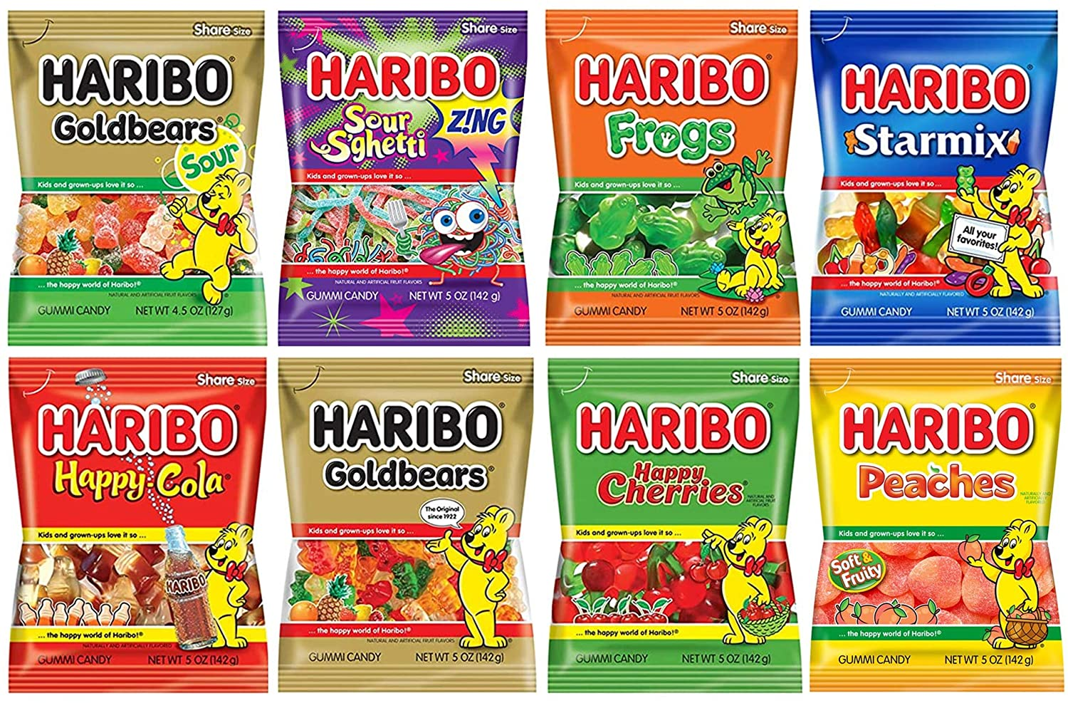 Haribo Gummy Gummies Candy Assorted Variety, Pack of 8