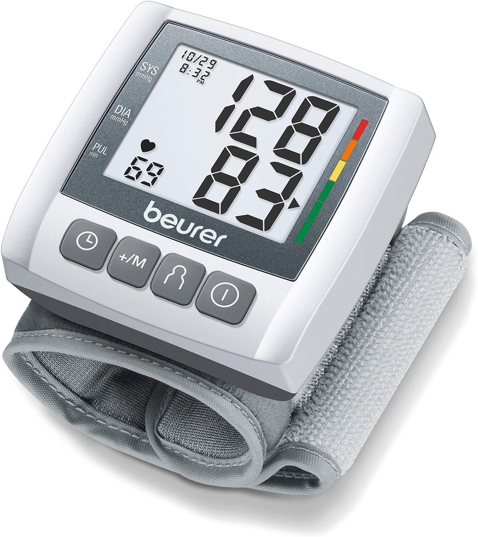 "Beurer BC30 Wrist Blood Pressure Monitor, Adjust. Cuff | Automatic & Digital, 2x 60 Reading Memory, LCD XL Numbers, Irreg. Heartbeat, Cuff Circ. 5.3"" - 7.7""| Home Use BP Machine Kit | High BP Detector"