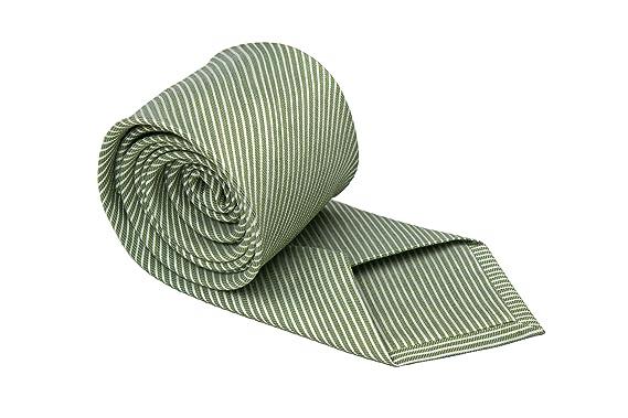 Notch corbata de paño de lino para hombre - fina, tiras verdes en ...