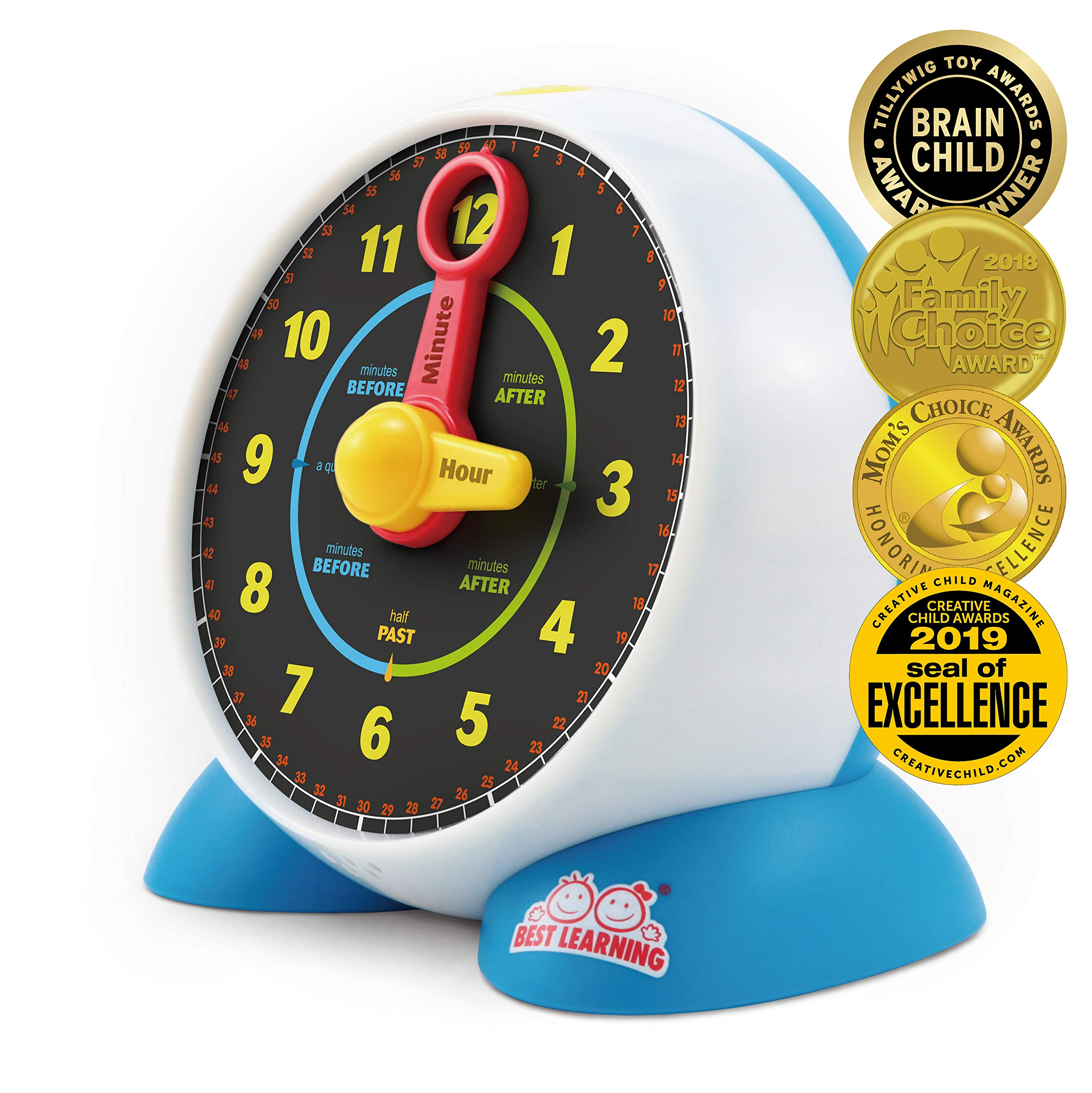 BEST LEARNING Learning Clock - Educational Talking Learn to Tell Time Light-Up Toy with Quiz and Sleep Mode Lullaby Music for Toddlers Kids by BEST LEARNING