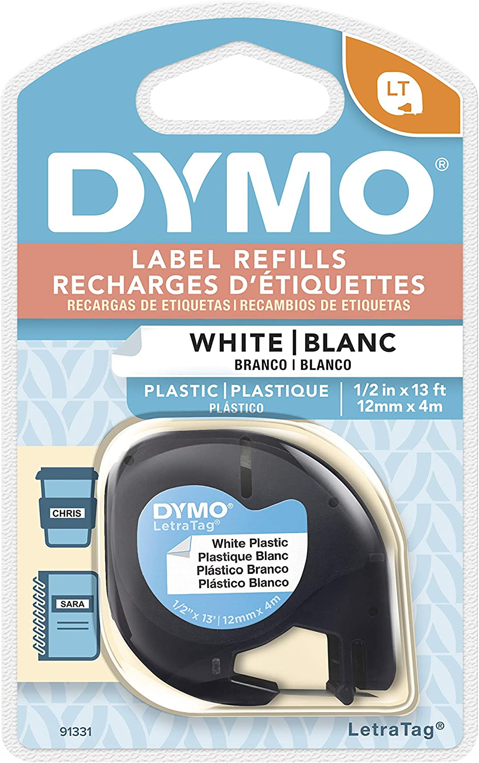 5 Pack LT-100T Wonfoucs Compatible Label Tape Replacement for DYMO Label Maker Refills 1//2 in x 13 ft White LetraTag Plastic 91331 Work with DYMO LetraTag Label Maker Machine 12mm x 4m LT-100H
