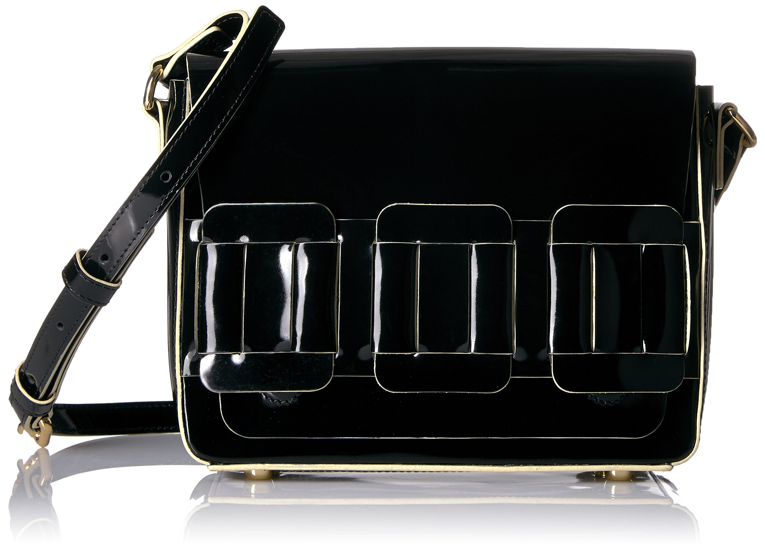 Orla Kiely Glass Leather Linked Mini Ivy, Black by Orla Kiely