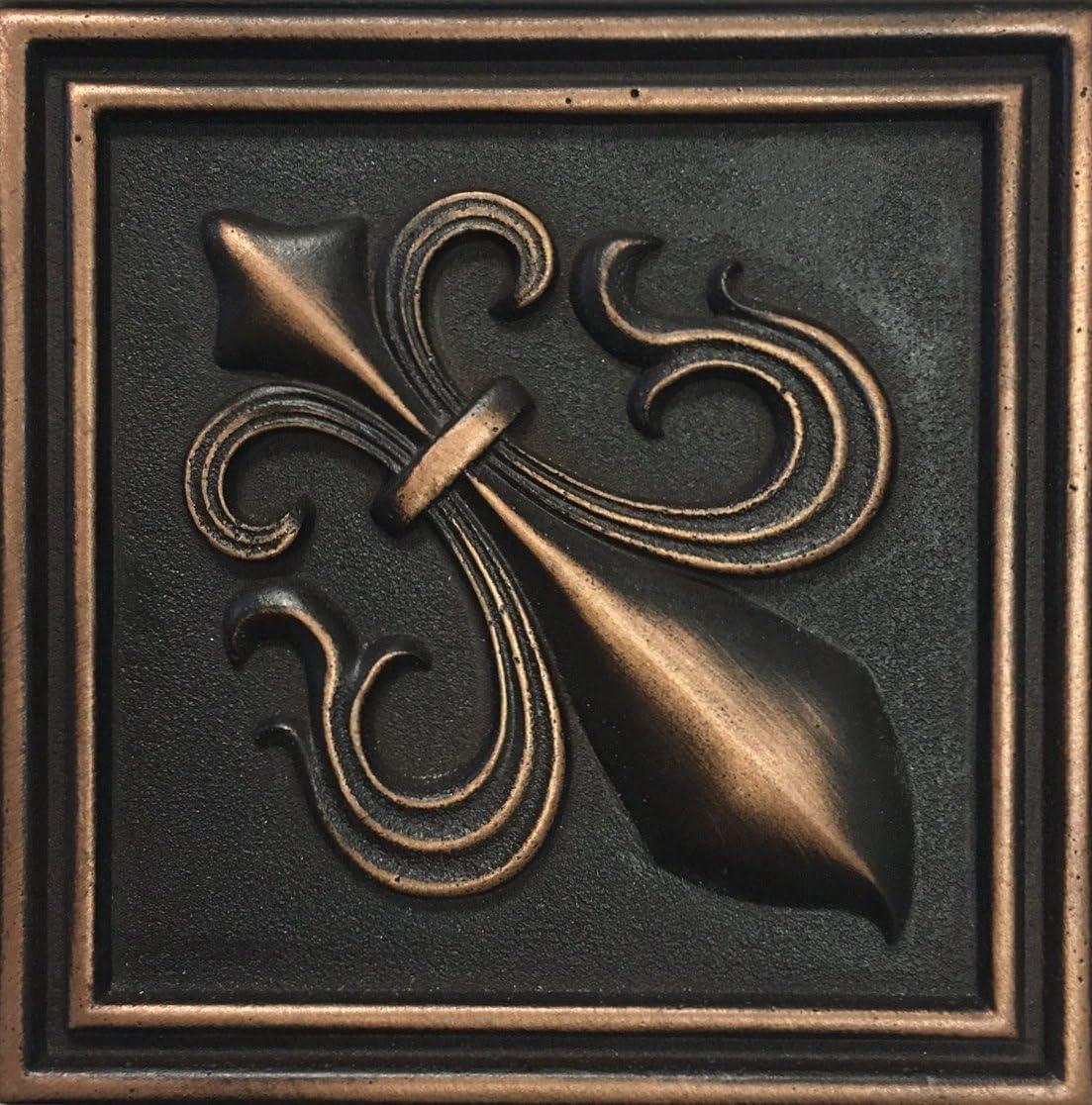 - Fleur De Lis 4x4 Victorian Copper Bronze Resin Decorative Insert