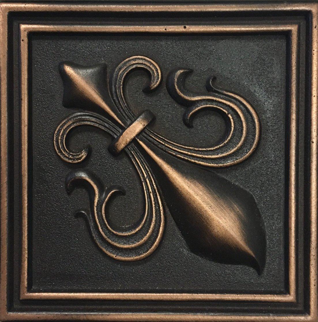Fleur De Lis 4x4 Victorian Copper Bronze Resin Decorative Insert Accent Piece Tile