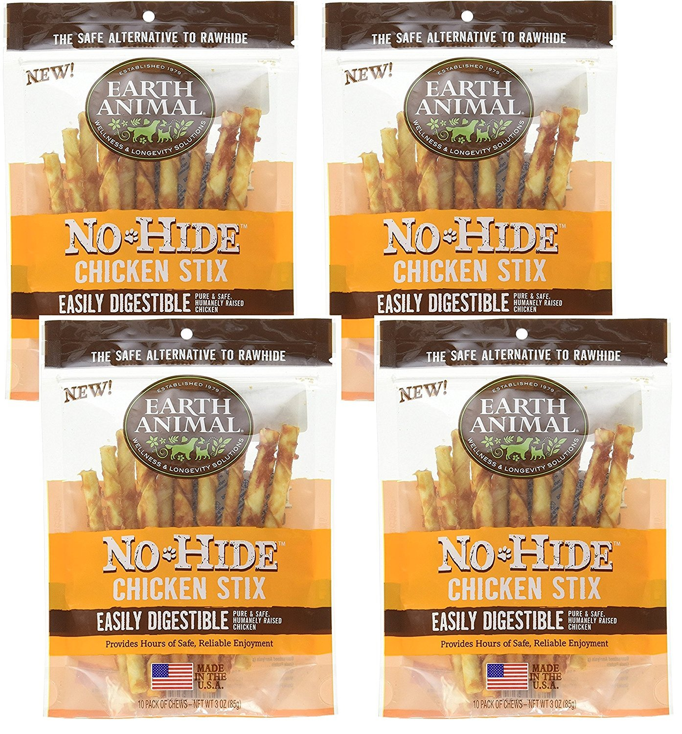 Earth Animal 4 Pack No-Hide 4.5'' Chicken Stix Dog Treats, 10 Per Bag, 40 Stix Total by Earth Animal