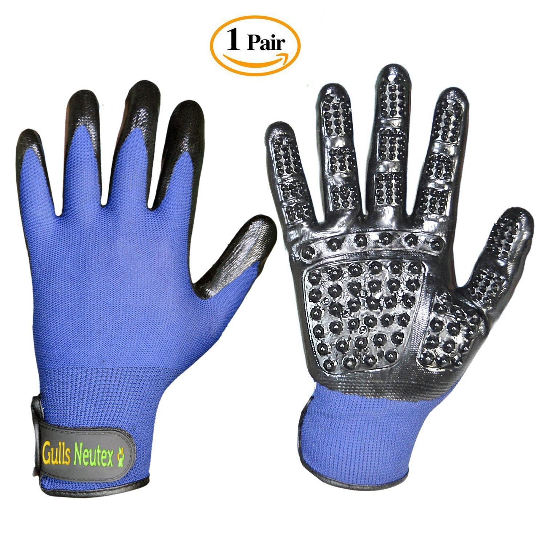 Gulls Neutexo Universal Size Pet Hair Grooming Gloves – Multipurpose Glove for Pet Hair Removing, Massage, Bathing – Enhanced Comfortable Design – De-shedding Tool for Dogs, Cats, Horses