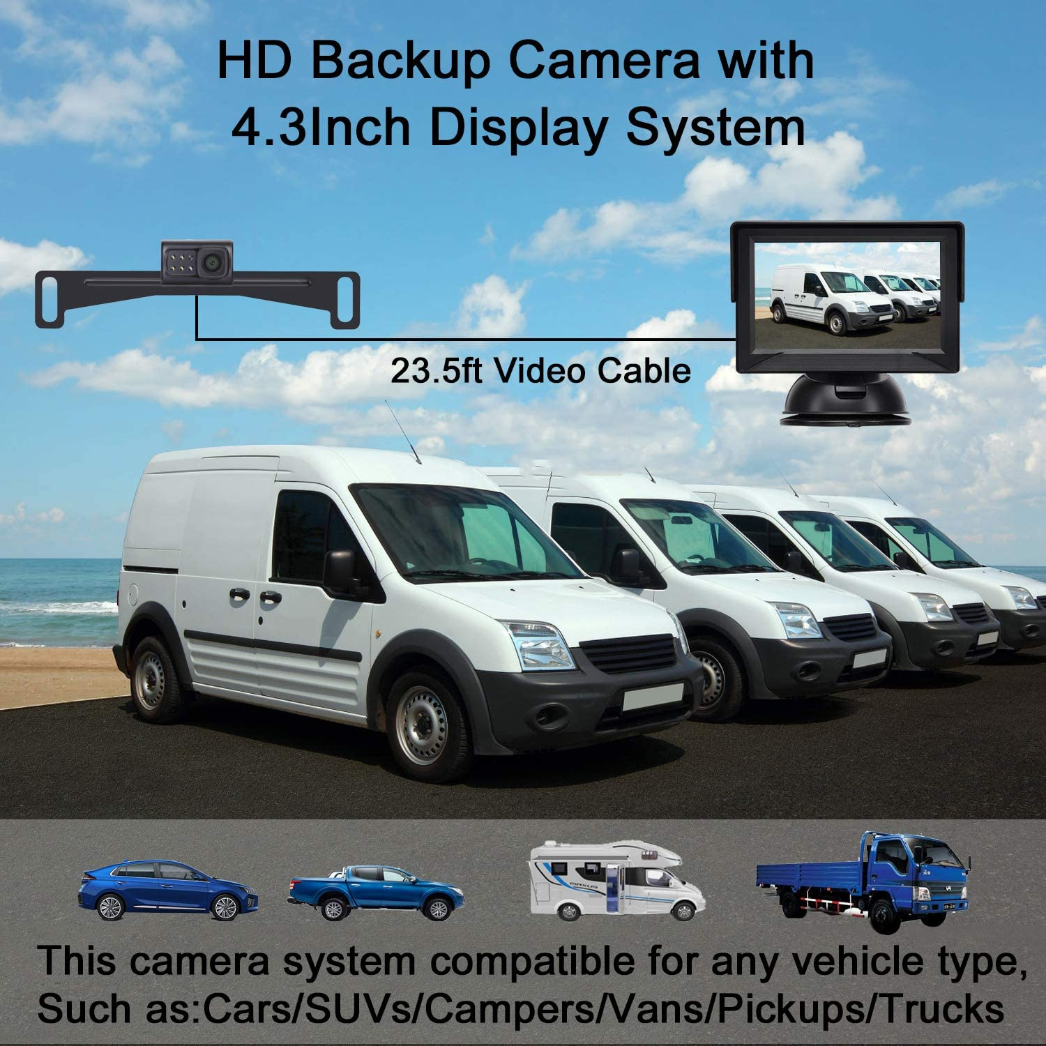 LeeKooLuu Backup Camera with 4.3 Monitor High-Speed Observation System Super Night Vision HD Color Rear//Front View for Cars//Pickups//Trucks//RVs//Vans Easy Installation