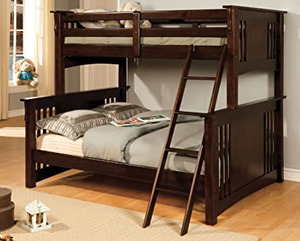 Amazoncom Furniture Of America Concord Bunk Bed Twinfull Dark