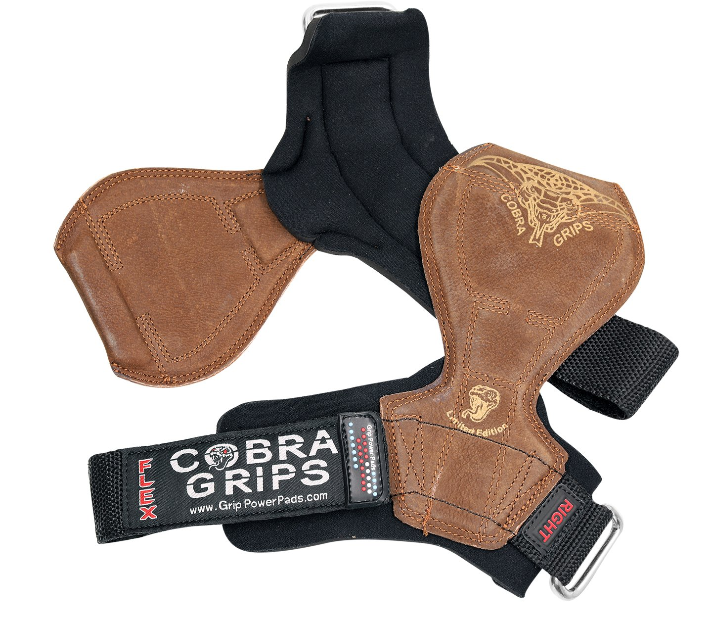 2018 Cobra Grips Flex Model Weight Lifting Gloves Heavy Duty Straps Alternative Power Lifting Hooks Best for Deadlifts with Padded Wrist Wrap Support Bodybuilding (Medium, Brown Leather) by Grip Power Pads (Image #5)