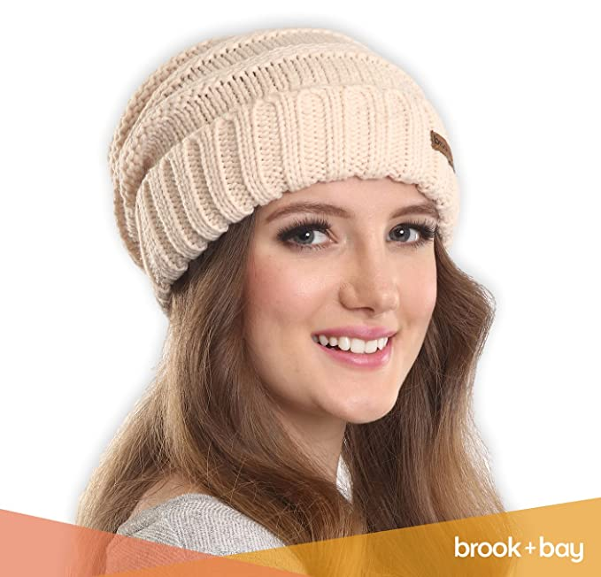 1cef1e6ba83 Amazon.com  Brook + Bay Slouchy Cable Knit Cuff Beanie - Stay Warm    Stylish - Chunky