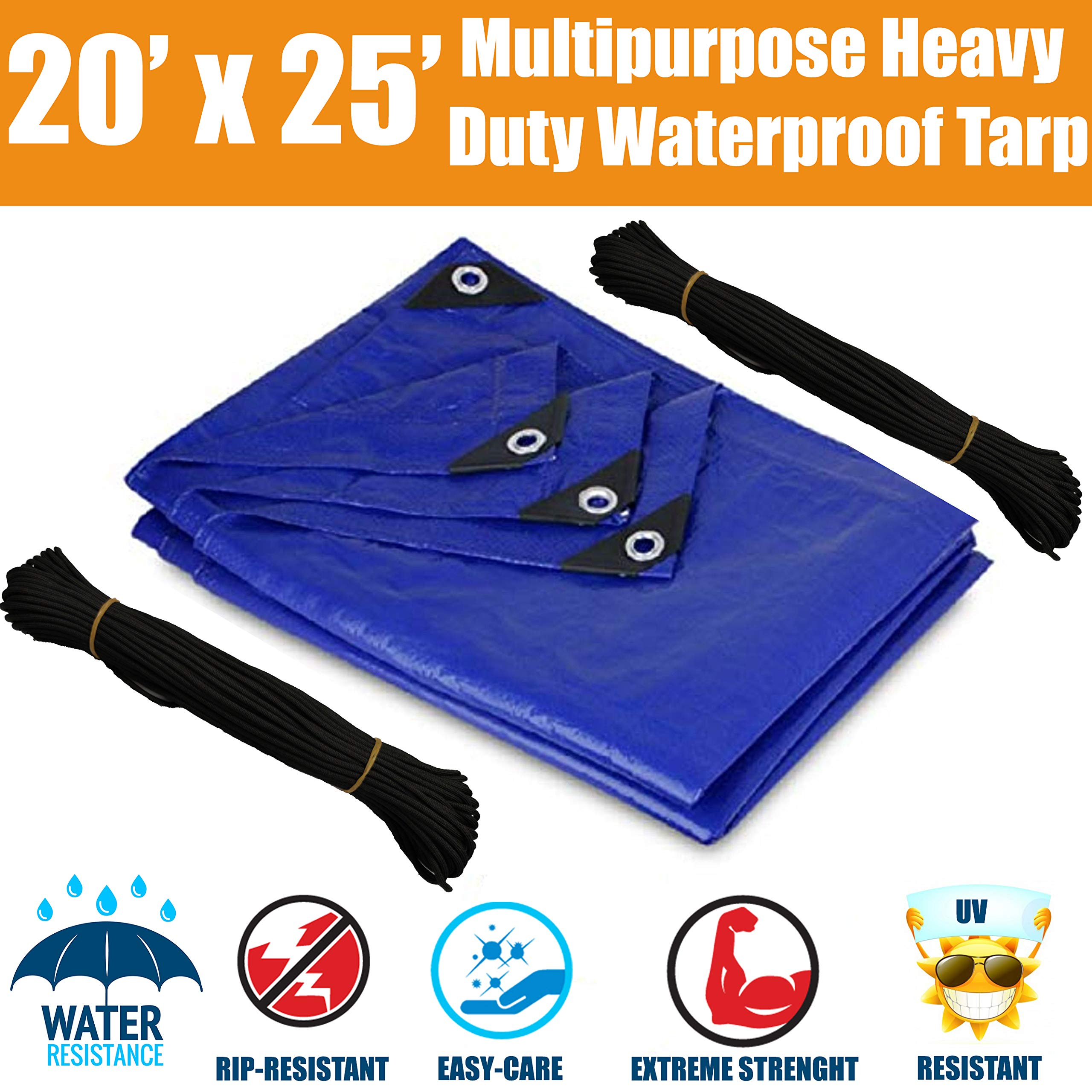 20'x25' Heavy Duty Waterproof Tarps - Multi-Purpose Blue Tarpaulin with Grommets, Reinforced Edges and Nylon Paracord for Outdoor Rain Shelter, Ground Cover, Boat, RV or Pool Cover