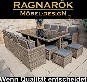 Ragnarök Marke Table de jardin en polyrotin - 8 ans de garantie sur ...