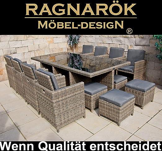 Tavolo Da Giardino Rattan Allungabile.Ragnarok Set Di Mobili Da Giardino In Rattan Sintetico Con 8