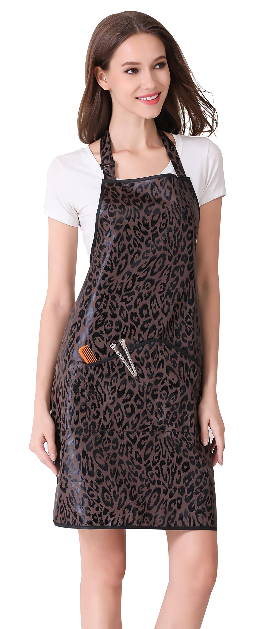 Hair Stylist Apron for Salon Hairdresser, Barber Haircut Styling Apron With Pockets-Leopard Print by Perfehair (Image #5)