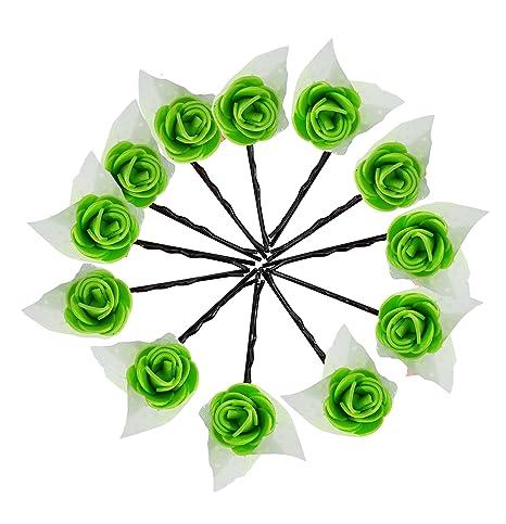 Buy Baal 12 Pcs Flower Juda Pins For Bun Decoration For Girls Green