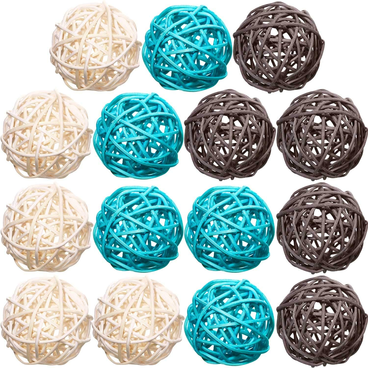 Yaomiao 15 Pieces Wicker Rattan Balls Decorative Orbs Vase Fillers for Craft, Party, Valentine's Day, Wedding Table Decoration, Baby Shower, Aromatherapy Accessories, 1.8 Inch(Light-Blue White Gray)