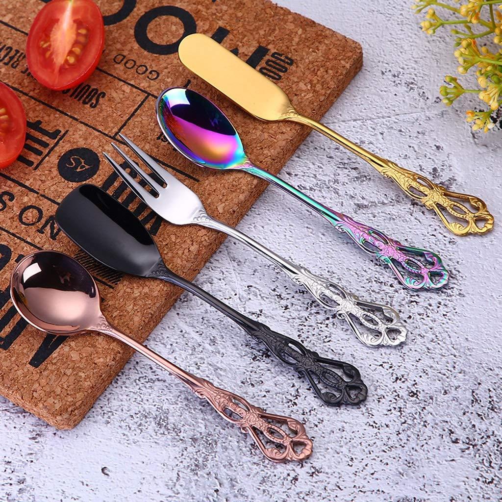 WDNMD Stainless Steel Coffee Spoons Fork Tableware Smooth Demitasse Espresso Spoons Food-Grade Dining Utensils Y-22 (B)