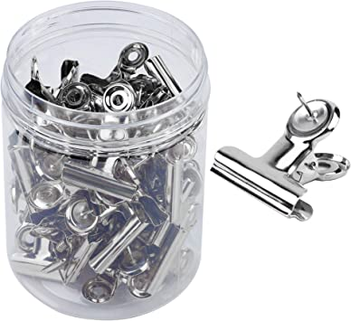 Bulletin Boards and Cubicle Walls for Office School Home and No Holes for The Paper 24 Pack Heavy Duty Clips with Pins for Cork Boards Push Pins Clips