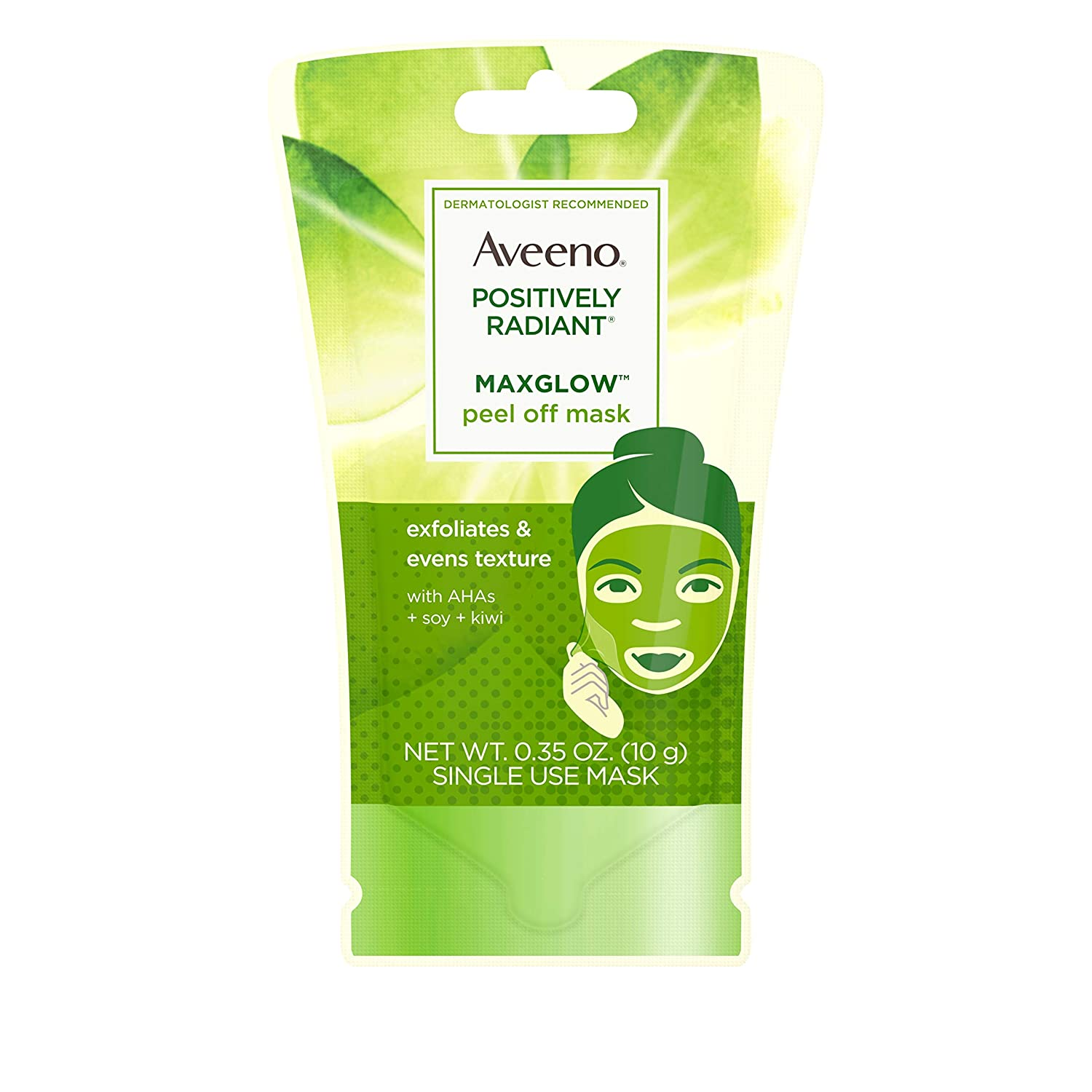 Aveeno Positively Radiant MaxGlow Peel Off Exfoliating Face Mask with Alpha Hydroxy Acids, Soy & Kiwi Complex for Even Tone & Texture, Non-Comedogenic, Paraben- & Phthalate-Free, 0.35 oz (Pack of 4)