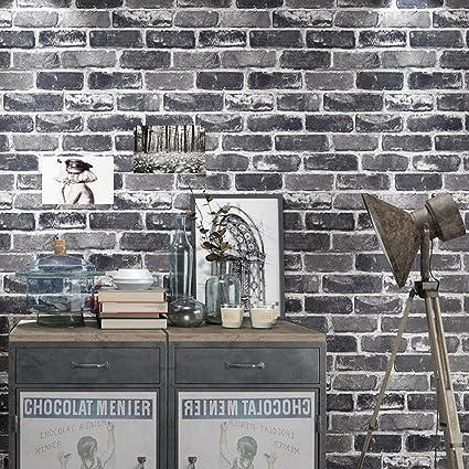 Okydoky Vinyl Waterproof Vintage Grey Brick Wallpaper, Livingroom ...