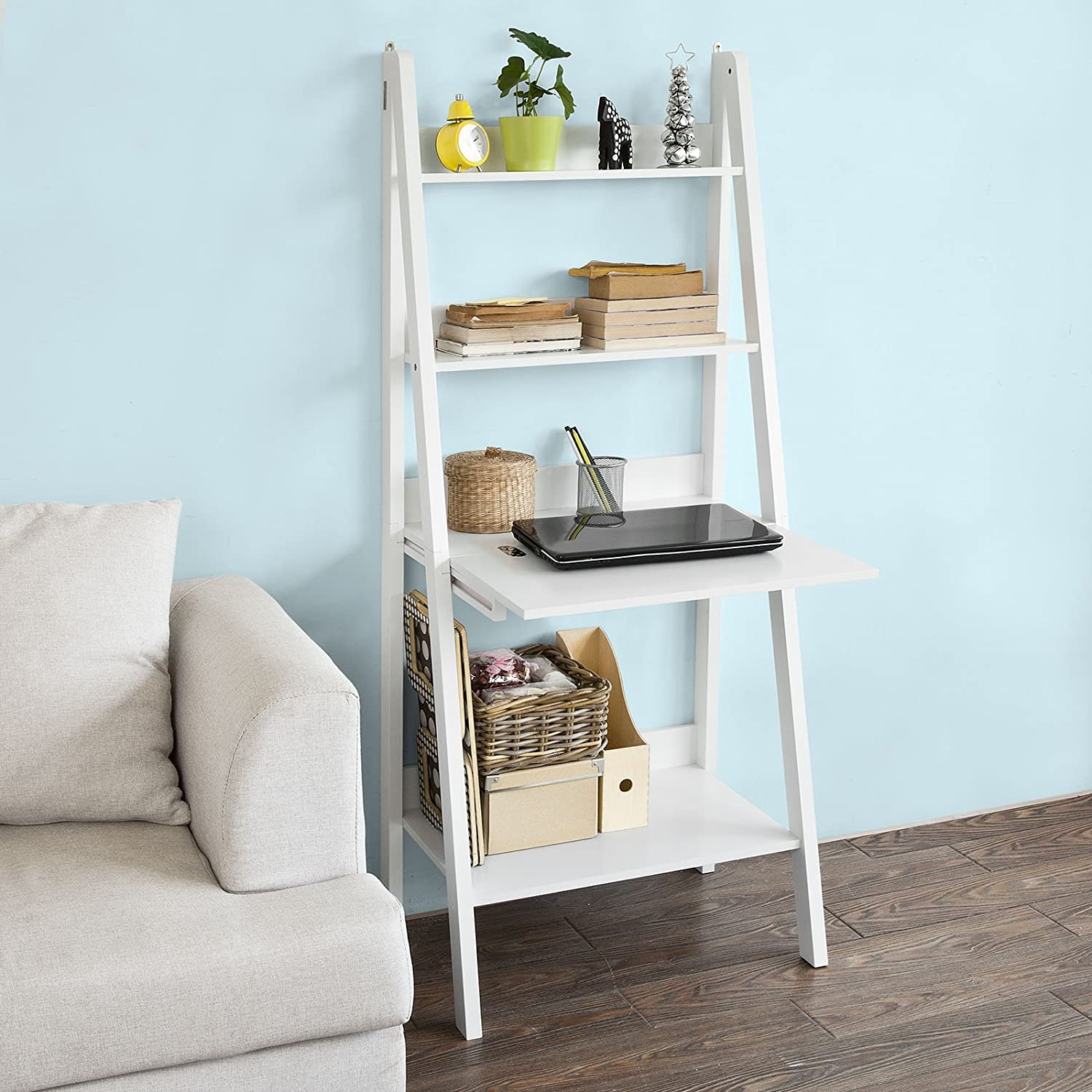 Sobuy Frg115 W, White Storage Display Shelving Ladder Shelf Bookcase With