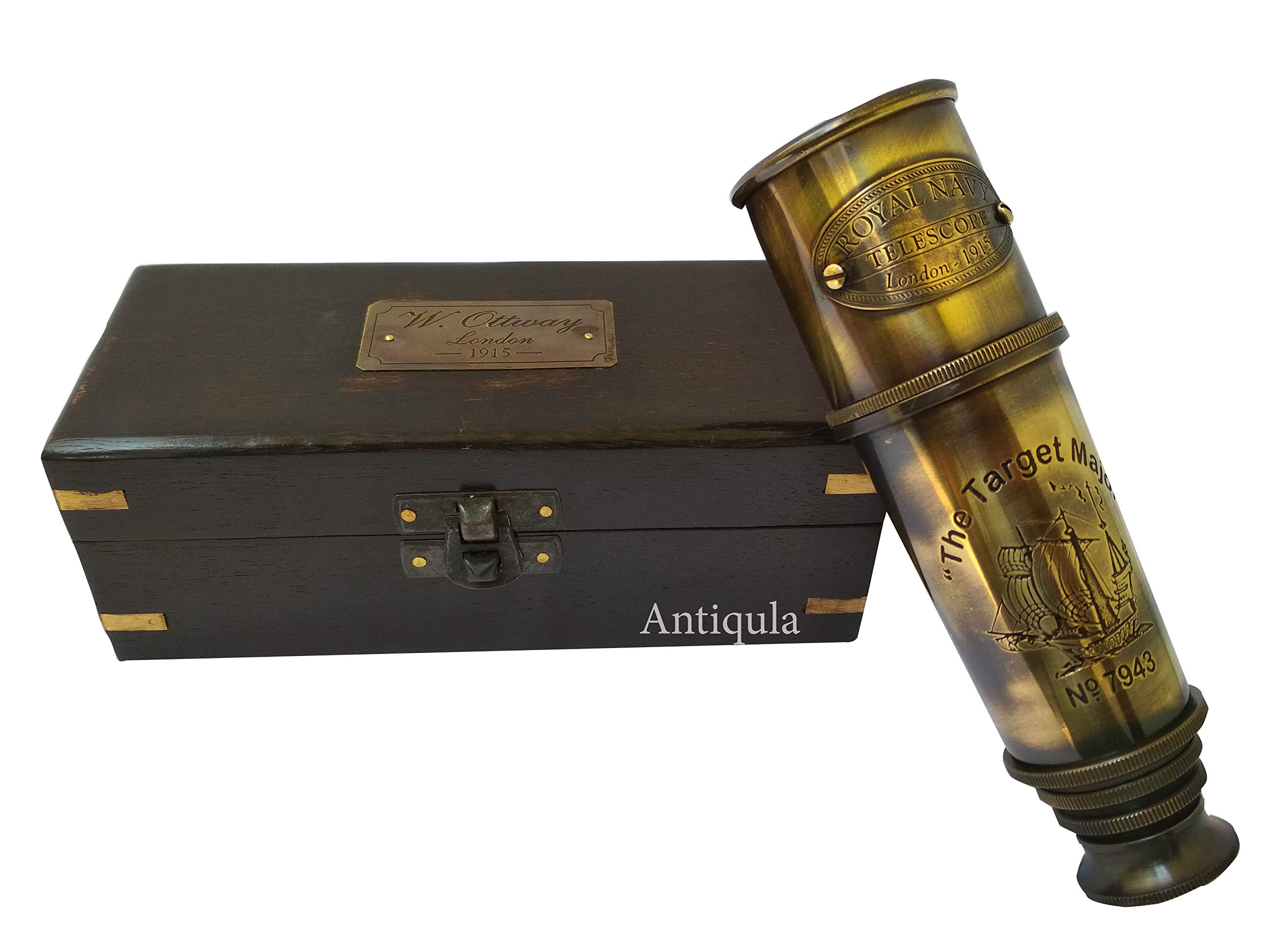 "Antiqula ""The Target Major"" Nautical Spyglass Vintage Brass Marine Collector's 14'' Maritime Telescope Decorative ~ Gift ~ Home Decor ~ Collectible"