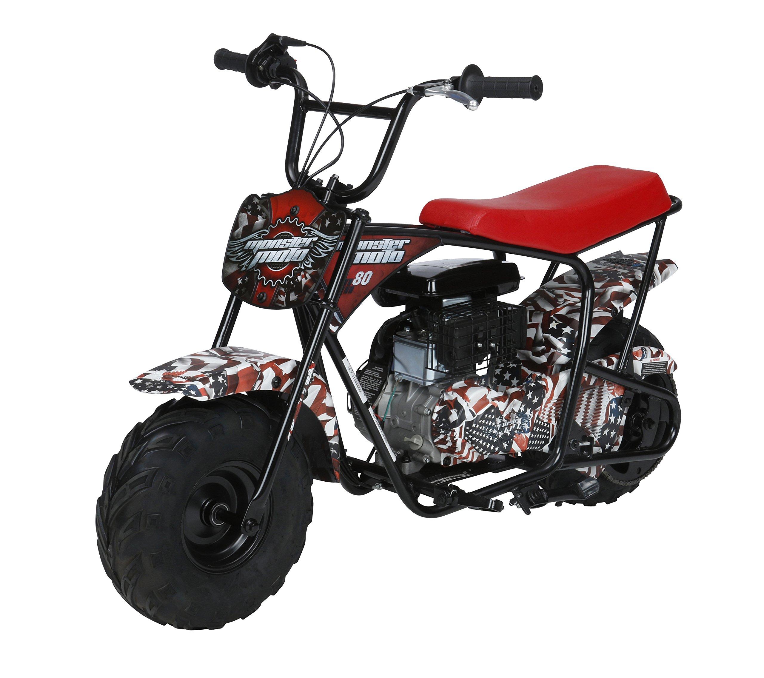 Monster Moto MM-B80-AF American Flag 80CC Youth Mini Bike - American Flag,1 Pack