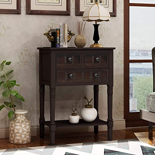 LUMISOL Narrow Hall Console Table, Slim Entryway Sofa Table with 3 Drawers and Bottom Shelf, Easy Assembly Espresso