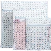 BAGAIL Set of 3 Mesh Laundry Bags-1 Extra Large, 1 Large & 1 Medium Blue Dot Travel Laundry Wash Bags for Delicates…